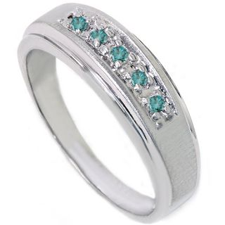 15ct Blue Diamond Wedding Brushed Ring 14k White Gold