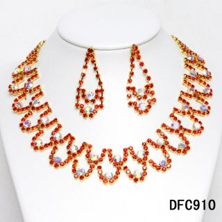 Bridal Bridesmaids Red Crystal Necklace Earrings Jewelry sets 6410