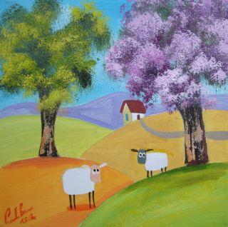 sheep colourful Scottish folk art original oil painting Gordon Bruce