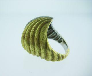 Dunay 18K Yellow Gold Platinum Brushed Finish Geometric Ring