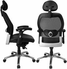 High Back Super Mesh Office Chair with Black Italian Leather Seat and