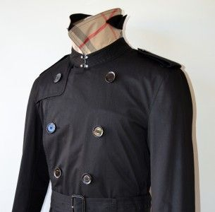 Burberry Brit Mens Britton Black Cotton Nova Check Trench Coat Jacket