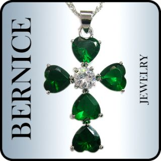 Wedding Jewelry Heart Cut Emerald White Gold Plated Pendant Free
