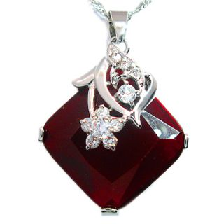 Christmas Gift Jewelry Asscher Cut Ruby White Gold GP Pendant Free