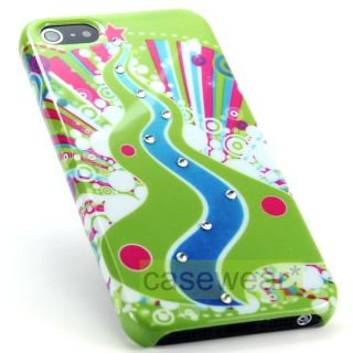 Green Bubbles Diamond Gem Bling Hard Case Snap on Cover for iPhone 5