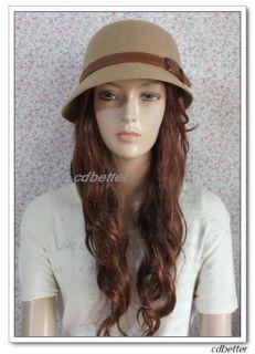 Buckle Style Women Warm Wool Blend Fedora Bucket Hats Caps Gift