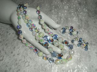 Hobe Vintage Glass & Crystal Beaded Necklace & Earrings Demi Parure