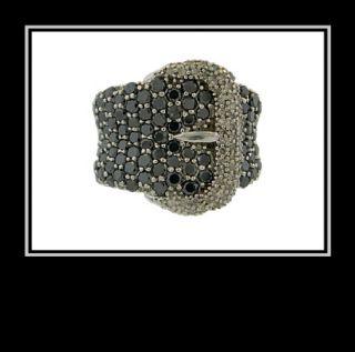 10K White Gold Black White Diamond Belt Buckle Ring