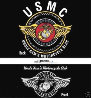 US Marine Corps T shirt USMC Uncle Sams Motorcycle Club Sam MC Biker