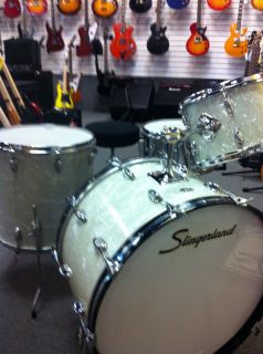 SLINGERLAND WHITE MARINE PEARL 4 PC DRUMSET BUDDY RICH SIZES 3 PLY