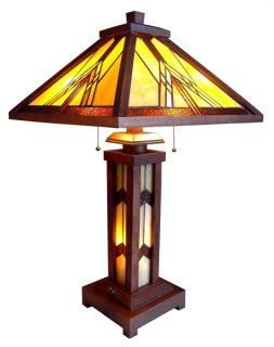 Handcrafted Mission Styled Tiffany Style Stained Glass Table Lamp w