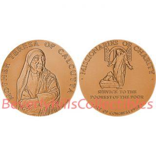 description mother teresa bronze medal 1 ½ with velvet case