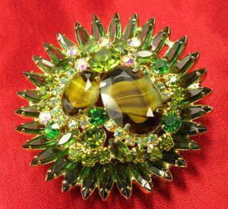 Unsigned Regency Aurora Borealis Rhinestone Brooch Art Glass Pin