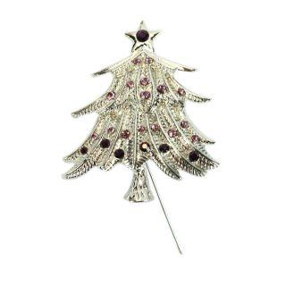 New 3 Pcs Star Christmas Tree Shaped Brooches Pins Rhinestone