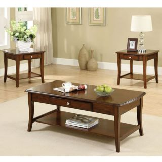 Brookston Dark Oak Finish Coffee End Table Set