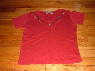 Womens Small Fashion Bug Red V Neck Shirt Butterflies