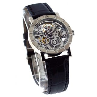 Bulgari 18kt White Gold Skeleton Watch New Black Croc Strap Ref