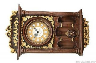 Imported Antique Polyresin Linseng 29X19 Pendulum Wall Clock Free Ship