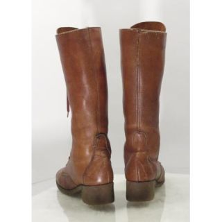 Vtg 70s Tall Boho Hippie Knee High Leather Lace Up Riding Boots Sz 7 5
