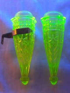 Set of 2 Antique 1930s Light Green VASELINE Glass CAR VASE (1 Pair)