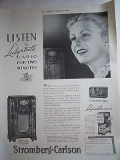 1936 Antique Stromberg Carlson 160 L Five Range Phonograph radio Ad