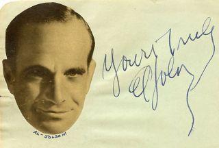 AL JOLSON VINTAGE 1930s ORIGINAL SIGNED ALBUM PAGE AUTOGRAPHED JAZZ