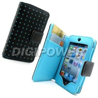 newly listed blue leather polka wallet case cover for apple