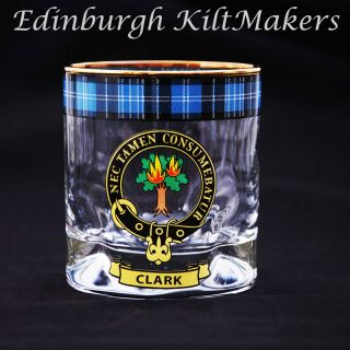 Robertson Clan Crested Whisky Glass Tartan Whisky Glasses
