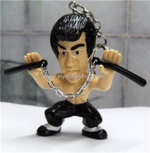 New Bruce Lee Nunchakus Action Figure Toy Keychain B
