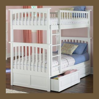 Kids Wood Bunk Bed Twin Over Twin White Girls Boys