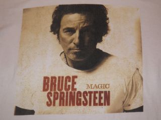 Bruce Springsteen Magic Tour T Shirt Size M White with Tour Dates on