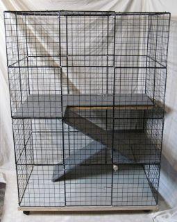 Rabbit Cage Indoor Big Bunny Cat Condo Deluxe Hutch Pet Pen w Carpeted
