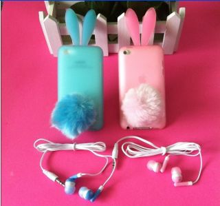 Of Cute Rabbit Bunny Silicone Case Cover Earphone For iPod Touch 4th