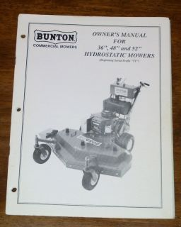 Bunton 36 48 52 Hydrostatic Mower Owners Manual