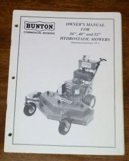 Bunton 36 48 52 Hydrostatic Mower Owners Manual