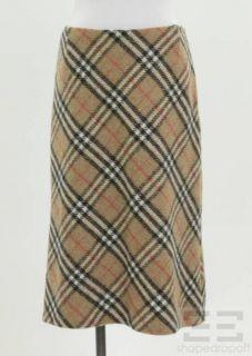 Burberry London Tan Nova Check Wool Pencil Skirt Size US6