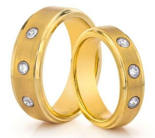 6mm Tungsten Carbide Brushed Gold Diamond Wedding Band Ring Set