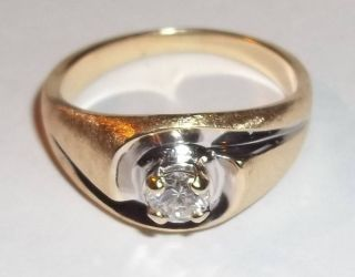 Modern 14k Yellow Gold Brushed Ring with 27pt Full Cut Round Diamond