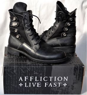 Affliction Mens Bruch Pebbler Biker Boots Black Military AC107 New