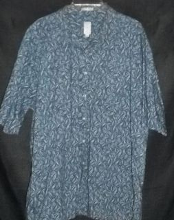 Burma Bibas XXL Blue Floral Cotton Lawn Matched Pocket Shirt