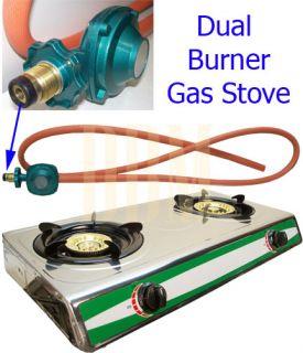 Propane Gas Dual Stove W/ Stand Combo Gasoline Double 2 Burners Stove