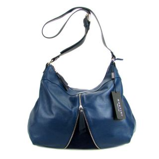MONTINI Italian Made Natural Blue Leather Crossbody Shoulder Bag with
