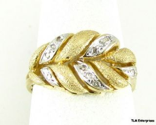 Diamond Leaf Ring Estate 10K White Yellow Gold Brushed