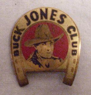 Buck Jones Cowboy Club Horse Shoe Shape Brass Badge 1930s