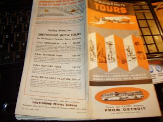 Greyhound Bus Vacation Tours From Detroit Michigan Schedule 1957
