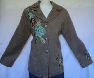 Coldwater Creek Brown Tweed Wool Blend Embroidered Blazer Jacket 8P PS