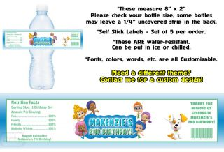 Bubble Guppies Printed Water Bottle Labels Birthday Party Favors