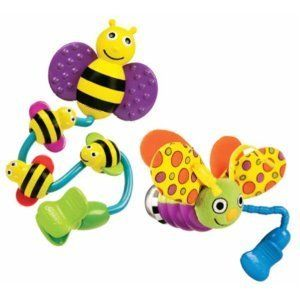 Sassy Busy Bee and Fun Firefly Stroller Clip On Toys New Stroller Seat