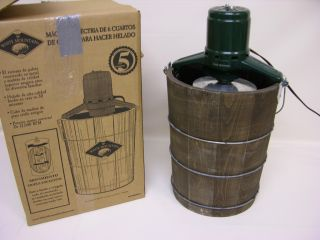 White Mountain NDWMIME611 6 Quart Wooden Bucket Electric Motor Ice