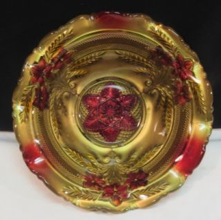 Antique EAPG Goofus Glass 9 Bowl Gold Ruby Red Daisy Cosmos Flowers
